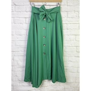 Flawed - Ann Taylor Tie Waist Button MIDI Skirt